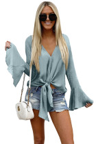 Gray Bell Sleeves Tie Front V Neck Blouse