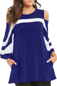 Navy Blue Platter Colorblock Bell Sleeve Plus Size Tunic Top