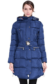 Blue Cotton Quilted Longline Hooded Coat
