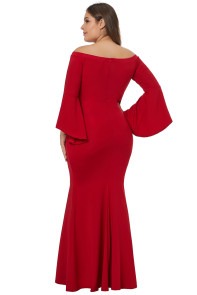 Chic Red Off Shoulder Slit Plus Size Mermaid Dress
