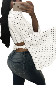 White Polka Dot Flare Sleeve Blouse