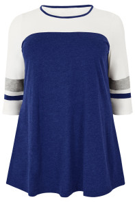 Navy Marl Color Block Quarter Sleeved Plus Size Top