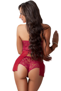 Burgundy 2pc Halter Lace Top with Panty Short