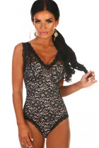 Black Lace Structured Cup Sleeveless Bodysuit