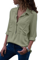 Army Green Covered Placket Button Down Shirt