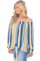 Blue Multicolor Striped Off Shoulder Blouse