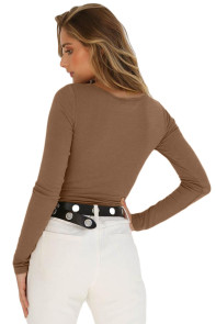 Khaki Long Sleeve Button Front Bodysuit
