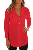 Red Buttoned Pockets Shawl Collar Linen Blouse