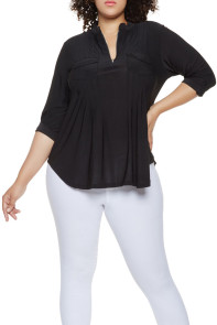 Black Plus Size Zip Up Pleated Top