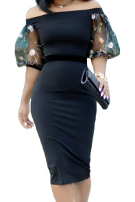 Black Off Shoulder Lantern Sleeve Midi Dress