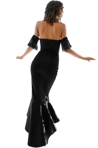 Black Lace Embellished Strapless Party Dress