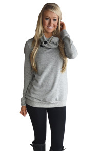 Gray Button and Zipped Cowl Neck Sweatshirt