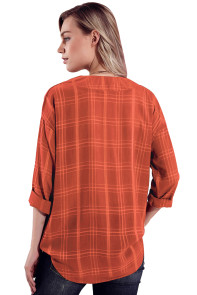 Burnt Orange Crepe Plaid Notched Neckline Blouse