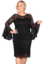 Black Plus Size Flared Sleeve Lace Dress