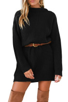 Black Drop Shoulder Pullover Sweater