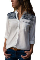 Embroidered Shoulder Accent White Shirt for Women