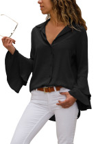 Black Layered Bell Sleeve Button Down Shirt