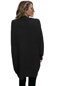 Black Pocketed Cable Knit Cardigan
