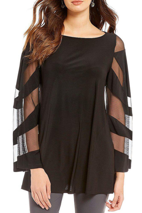 Black Long Sleeve Boat Neck Chiffon Blouse