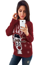 Red Christmas Reindeer Crew Neck Sweater