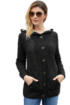 Fleece Hooded Black Button Down Cardigan Sweater