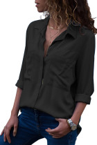 Black Covered Placket Button Down Shirt