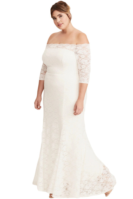 Us40 Zkess White Plus Size Lace Off Shoulder Party Maxi Dress
