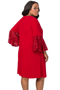 Red Sequin Lace Bell Sleeve Plus Size Mini Dress