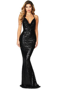 Black Daring Bare Back Sequined Mermaid Gown