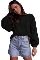 Black Loose Fit Knit Hollow Out Jumper Sweater