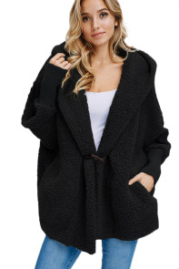 Black Woolen Fur Horn Button Oversize Jacket