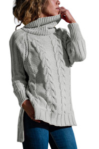 Gray Turtle Neck Long Tail Cable Sweater
