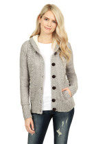 Fleece Hooded Gray Button Down Cardigan Sweater