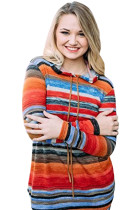 Colorful Striped Drawstring Hoodie