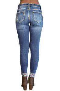 Light Blue Destroyed Skinny Jeans