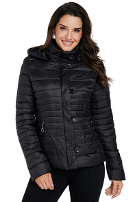 Black Core Down Hooded Jacket