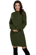 Green Drop Shoulder Pullover Sweater