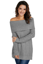 Gray Fold Over Poncho Style Sweater