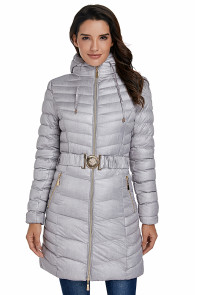 Gray Hooded Longline Winter Coat with Belt