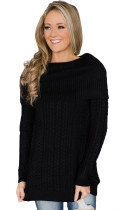 Black Fold Over Poncho Style Sweater