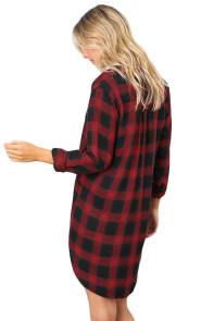 Red Black Plaid Pocket Style Shirt Dress