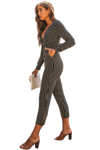 Black Striped Wrap V Neck Long Sleeve Jumpsuit