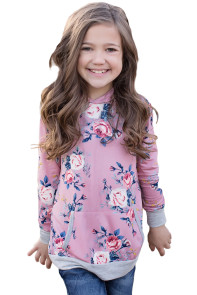 Pink Floral Hooded Girls' Sweatshirt