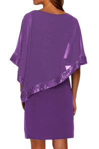 Purple Sequined Poncho Mini Dress