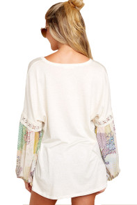 Printed Bubble Sleeve Splice White Tunic Top