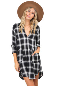 Black White Plaid Pocket Style Shirt Dress