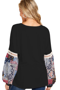 Printed Bubble Sleeve Splice Black Tunic Top