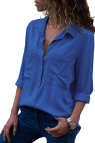 Ocean Blue Covered Placket Button Down Shirt