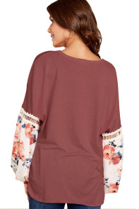 Printed Bubble Sleeve Splice Orange Tunic Top