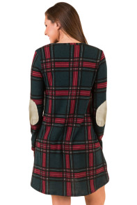Contrast Elbow Patch Green Plaid Swing Dress